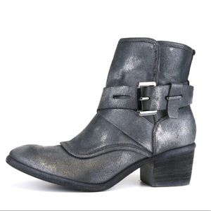 Donald J. Pliner Metallic Pewter Buckle Front Boot
